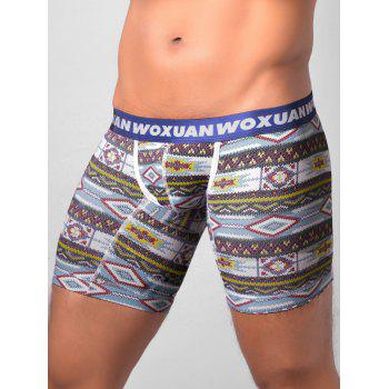 U Contour Pouch Tribal Printed Boxer Briefs - BLUE BLUE