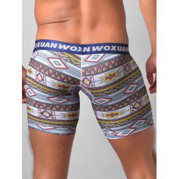 U Contour Pouch Tribal Printed Boxer Briefs - BLUE M