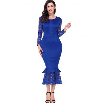 Long Sleeve Lace Panel Bodycon Mermaid Dress - BLUE L