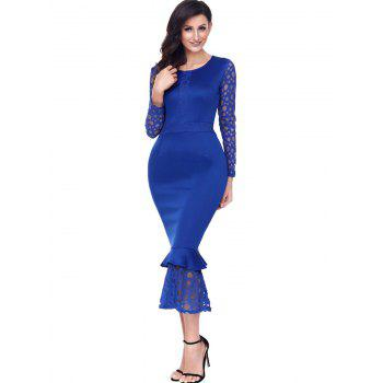 Long Sleeve Lace Panel Bodycon Mermaid Dress - BLUE M