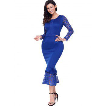 Long Sleeve Lace Panel Bodycon Mermaid Dress - BLUE BLUE