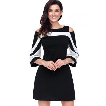 Two Tone Cold Shoulder A-line Dress - BLACK S