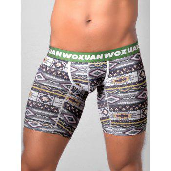 U Contour Pouch Tribal Printed Boxer Briefs - BLACKISH GREEN BLACKISH GREEN
