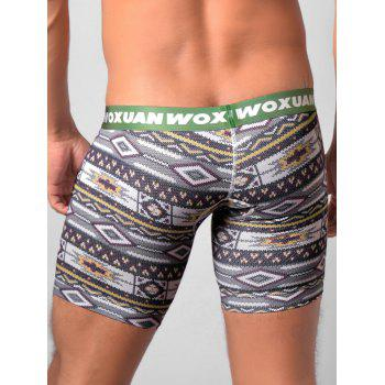 U Contour Pouch Tribal Printed Boxer Briefs - BLACKISH GREEN M