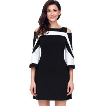 Two Tone Cold Shoulder A-line Dress - BLACK BLACK