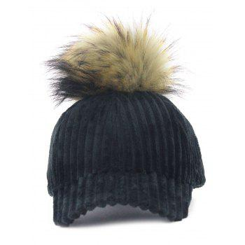 Removable Fuzzy Ball Decorated Corduroy Graphic Hat - BLACK BLACK