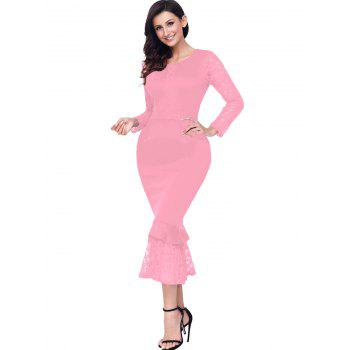Long Sleeve Lace Panel Bodycon Mermaid Dress - PINK L