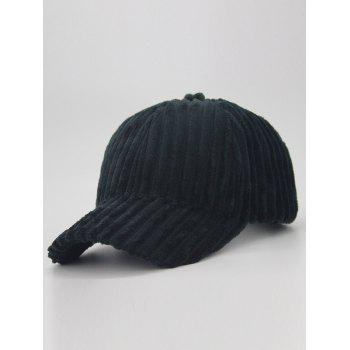 Removable Fuzzy Ball Decorated Corduroy Graphic Hat - BLACK