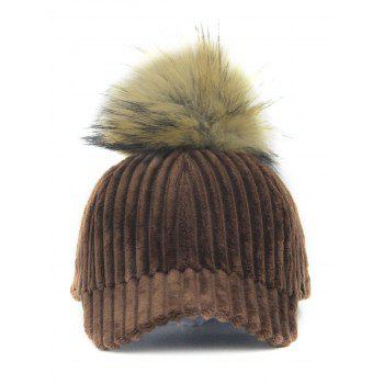 Removable Fuzzy Ball Decorated Corduroy Graphic Hat - COFFEE COFFEE