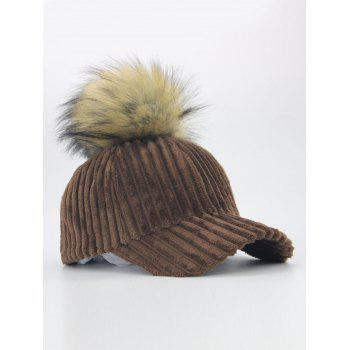Removable Fuzzy Ball Decorated Corduroy Graphic Hat - COFFEE
