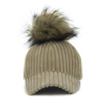 Removable Fuzzy Ball Decorated Corduroy Graphic Hat - LIGHT CAMEL LIGHT CAMEL