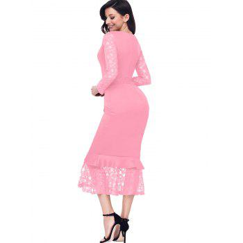 Long Sleeve Lace Panel Bodycon Mermaid Dress - PINK PINK