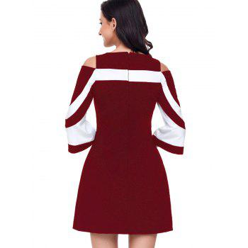 Two Tone Cold Shoulder A-line Dress - WINE RED WINE RED