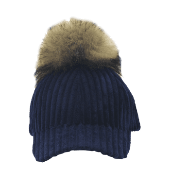 Removable Fuzzy Ball Decorated Corduroy Graphic Hat -  NAVY