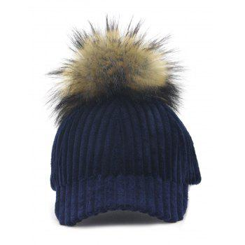 Removable Fuzzy Ball Decorated Corduroy Graphic Hat - NAVY NAVY