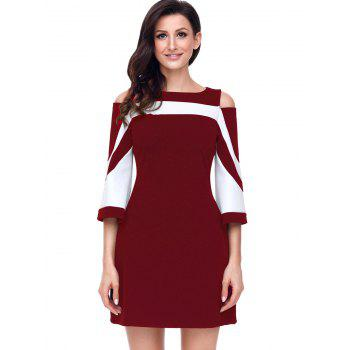 Two Tone Cold Shoulder A-line Dress - WINE RED S