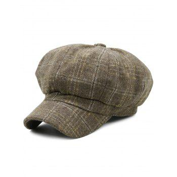 Tartan Pattern Decorated Artificial Wool Beret - KHAKI KHAKI
