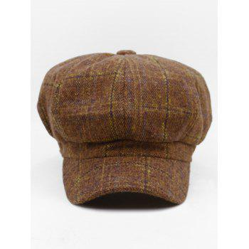 Tartan Pattern Decorated Artificial Wool Beret - COFFEE
