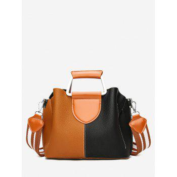 Contrasting Color Faux Leather Stitching Handbag - BLACK AND BROWN BLACK/BROWN