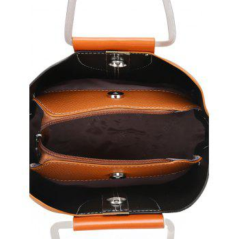 Contrasting Color Faux Leather Stitching Handbag - BLACK/BROWN