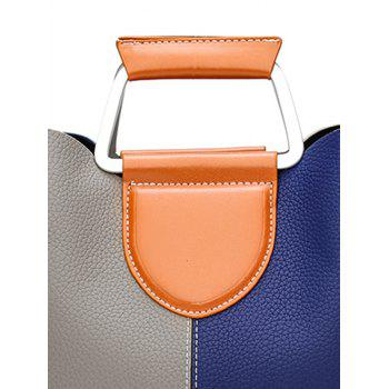 Contrasting Color Faux Leather Stitching Handbag - PURPLISHBLUE/GRAY
