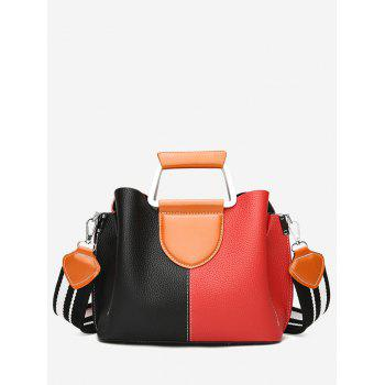 Contrasting Color Faux Leather Stitching Handbag - BLACK AND RED BLACK/RED
