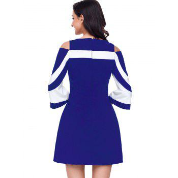 Two Tone Cold Shoulder A-line Dress - BLUE S