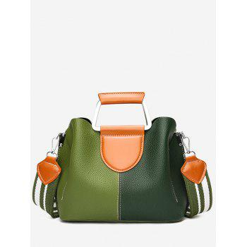 Contrasting Color Faux Leather Stitching Handbag - GREEN GREEN