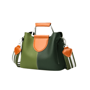 Contrasting Color Faux Leather Stitching Handbag -  GREEN