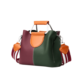 Contrasting Color Faux Leather Stitching Handbag -  RED/GREEN
