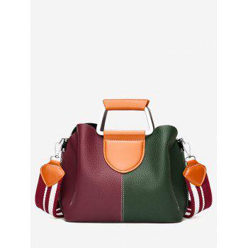 Contrasting Color Faux Leather Stitching Handbag - RED AND GREEN RED/GREEN