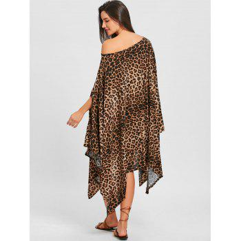 Batwing Sleeve Leopard Print Oversized Midi Dress - LEOPARD PRINT PATTERN XL