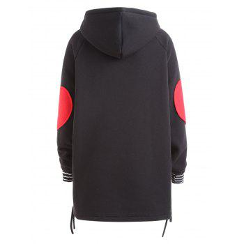 Plus Size Heart Graphic Tunic Hoodie - BLACK BLACK