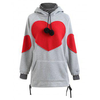 Plus Size Heart Graphic Tunic Hoodie - GRAY GRAY