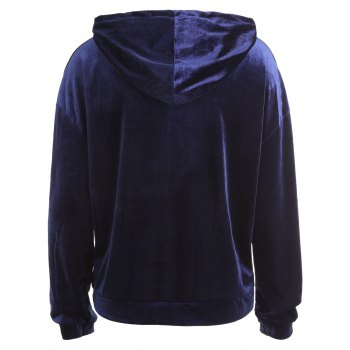 Letter On Sleeves Plus Size Velvet Hoodie - ROYAL ROYAL