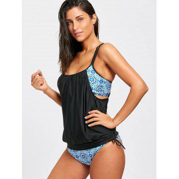 Floral Cross Back Blouson Swimsuit - BLACK BLACK