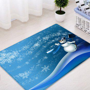 Christmas Snowman Snowflakes Pattern Indoor Outdoor Area Rug - BLUE W20 INCH * L31.5 INCH