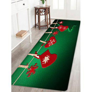Christmas Hanging Socks Pattern Anti-skid Indoor Outdoor Area Rug - GREEN GREEN