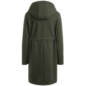 Drawstring Waist Plus Size Long Hooded Coat - GREEN GREEN