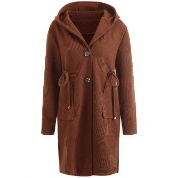 Drawstring Waist Plus Size Long Hooded Coat - COFFEE COFFEE