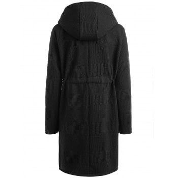 Drawstring Waist Plus Size Long Hooded Coat - BLACK 5XL