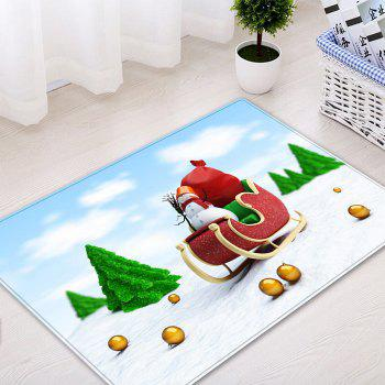 Christmas Trees Sleigh Pattern Indoor Outdoor Area Rug - COLORMIX COLORMIX