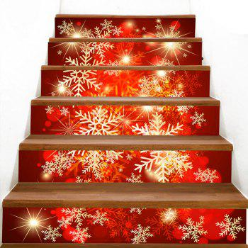 Christmas Snowflake Print Stair Stickers - COLORFUL 100*18CM*6PCS