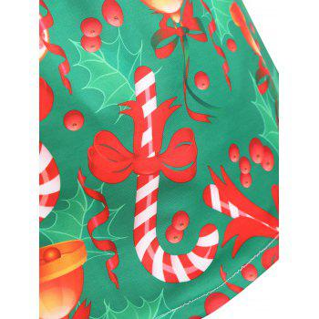Plus Size Christmas Bowknot Bell Print Skirt - GREEN XL