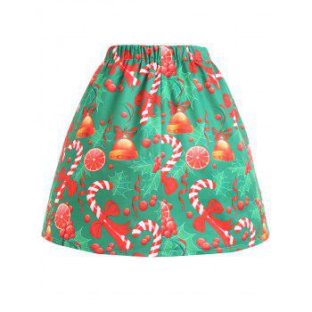 Plus Size Christmas Bowknot Bell Print Skirt - GREEN 2XL