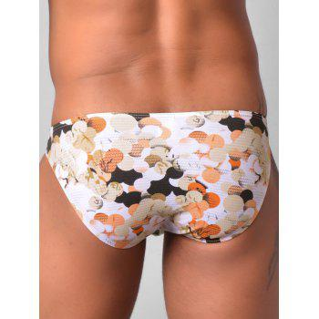 Low Rise Colorful Ball Printed Briefs - ORANGE XL
