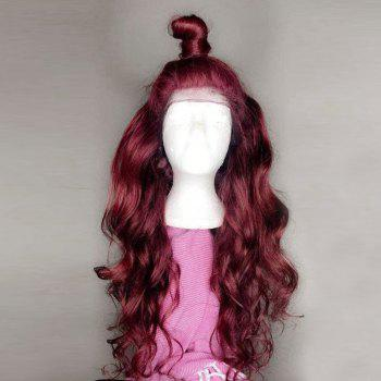 Long Free Part Body Wave Synthetic Lace Front Wig - WINE RED WINE RED