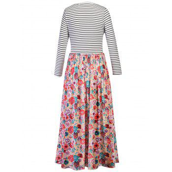 Floral Print Striped Maxi Dress - FLORAL FLORAL