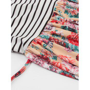 Floral Print Striped Maxi Dress - FLORAL L