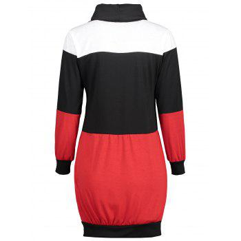 Color Block Turtleneck Mini Bodycon Dress - BLACK XL